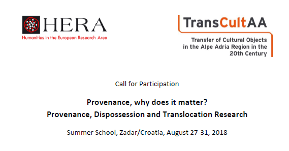 "Prijave za međunarodnu ljetnu školu ""Provenance, why does it matter? Provenance, Dispossession and Translocation Research"""
