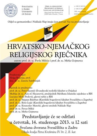 """Predstavljanje """"Hrvatsko-njemačkog religijskog rječnika"""" - medijski odjek"""